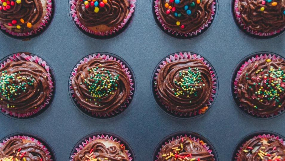 Chocolate cupcakes with sprinkles